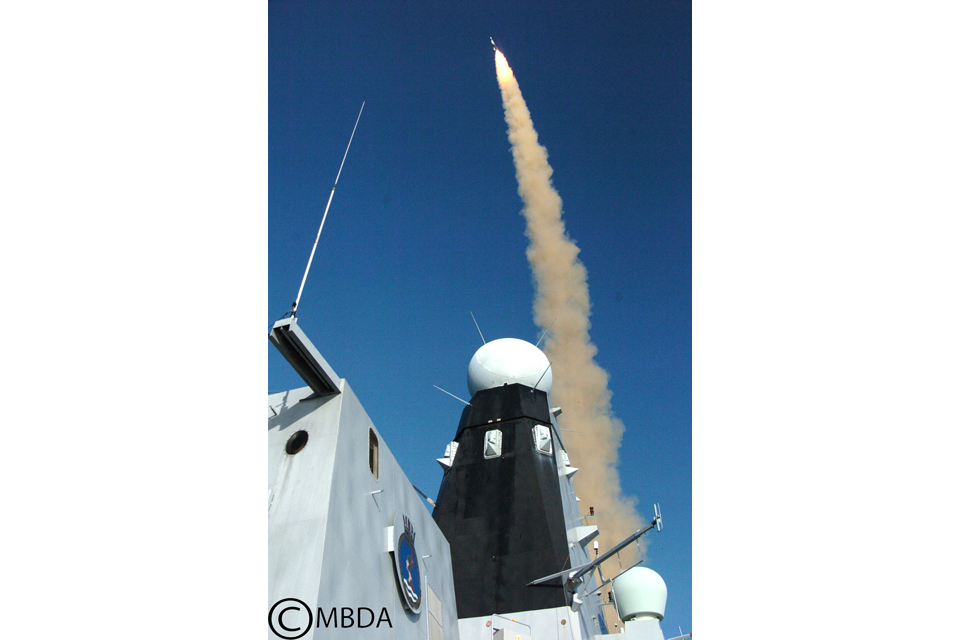 A Type 45 destroyer fires an Aster 30 missile