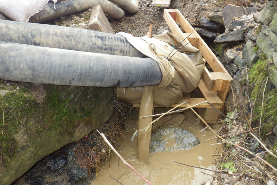 Silt water running from the site