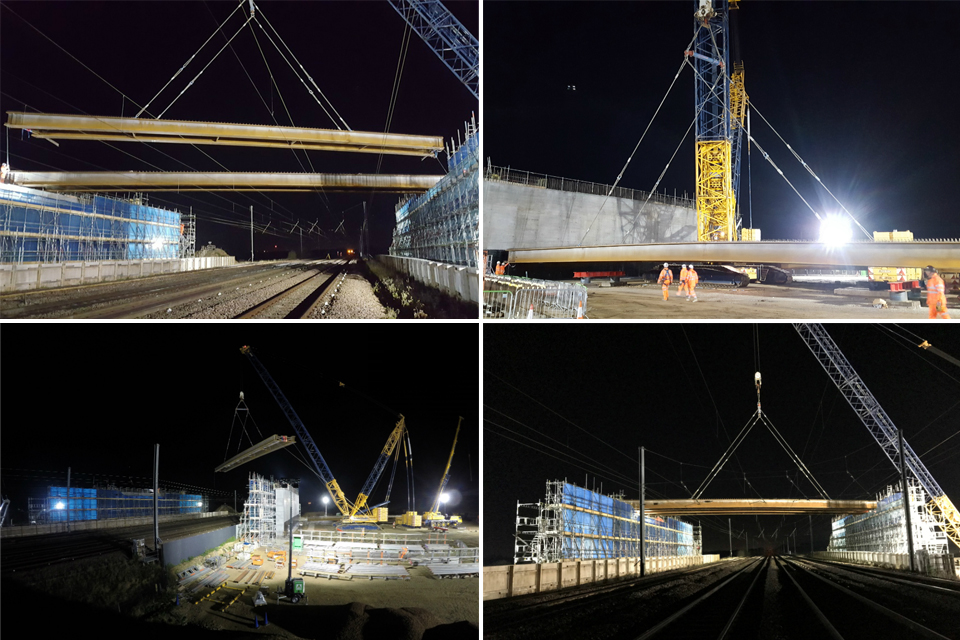 Images showing steel girders being lifted over the East Coast Main Line railway