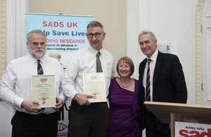 Lifesavers Rob Nichols and Marcus Fry receiving their SADS UK National Lifesaver Award from Anne Jolly MBE and SADS UK Patron Dr Hilary Jones