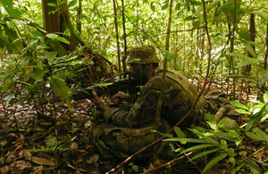 A trooper from B Squadron of 1st The Queen's Dragoon Guards taking part in Exercise Rukh Eagle in Brunei [Picture: Crown copyright]