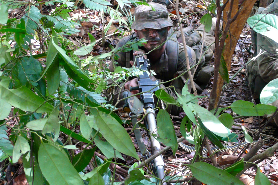 A trooper taking part in an ambush