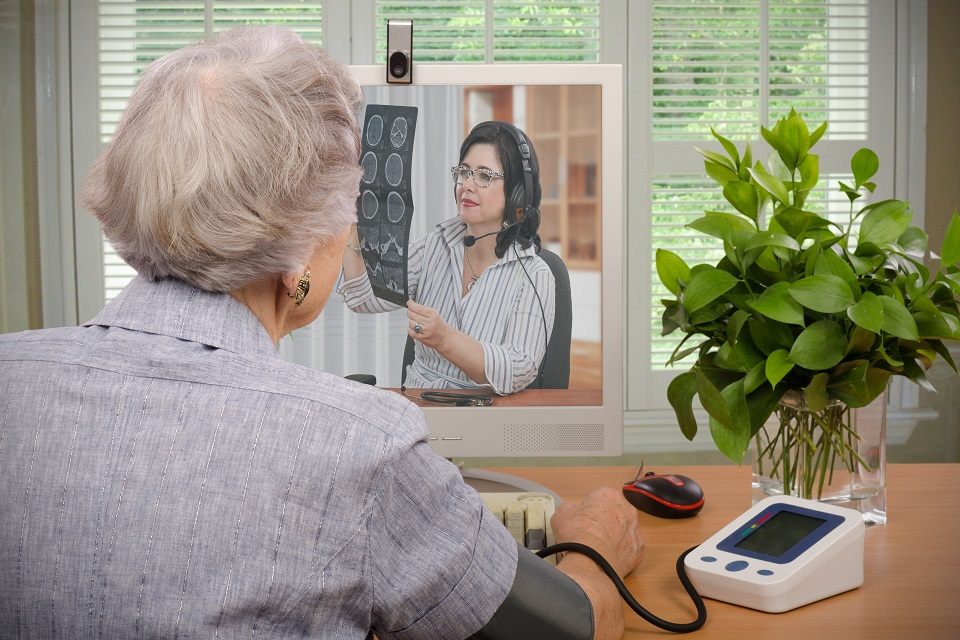 A patient receiving a health consultation