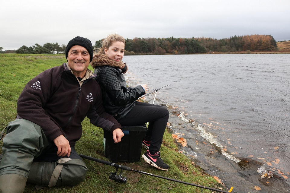 The Angling Trust's David Munt with Amie James.
