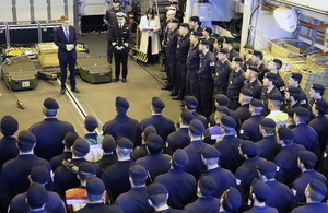 Defence Secretary Gavin Williamson addressed the crew of HMS Sutherland last week.