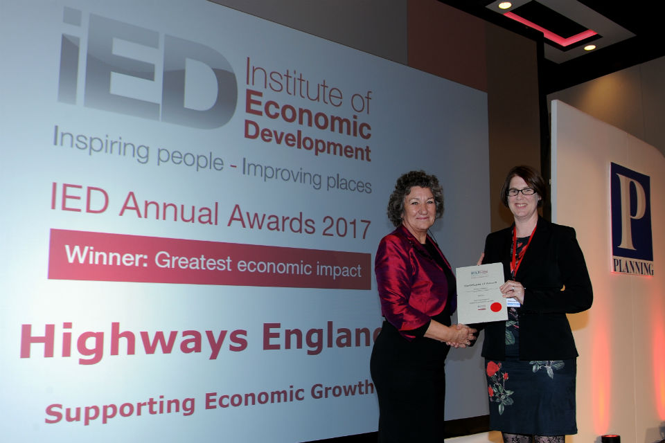 Image showing Senior Strategic Implementation Manager Alice Darley receiving the award