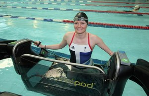 Paralympic medallist Susie Rodgers trying out the poolpod at Mile End Park Leisure Centre