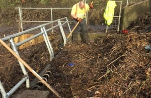 Image shows the team clearing debris at spring gardens