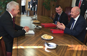 First Secretary of State Damian Green meets Welsh Secretary Alun Cairns and First Minister Carwyn Jones