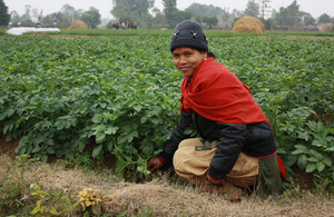 Santa Rani Chaudhari pictured near her vegetable plot. Picture: Robert Stansfield/DFID