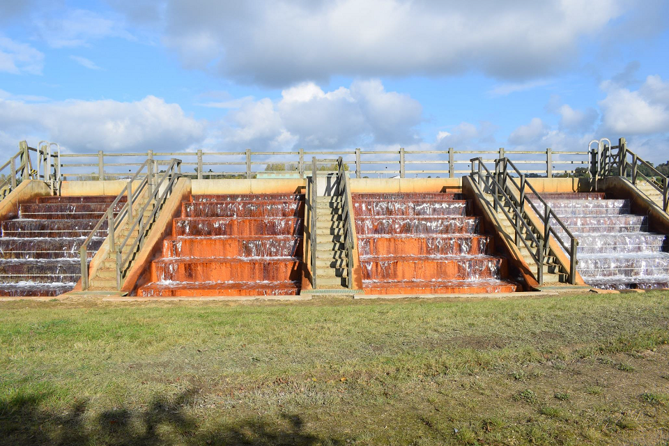 The four water cascades at the mine water treatment scheme