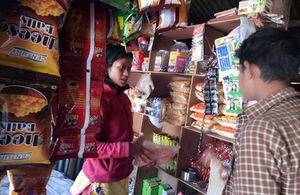 Pratima working in her shop in Nepal