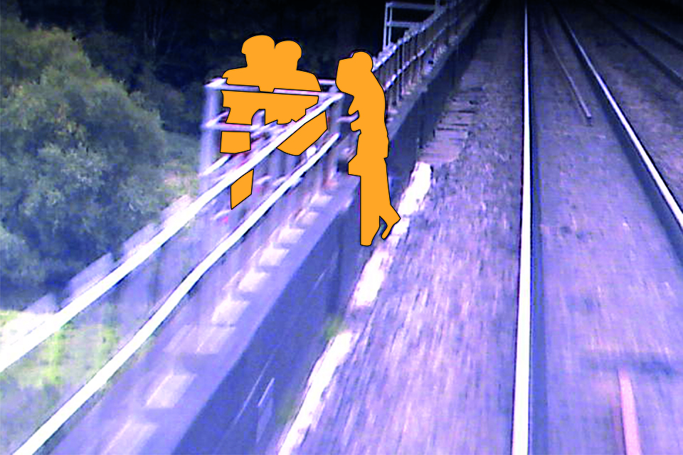 Image from forward-facing camera on train 9M84 showing the group of line-side workers moving clear (image courtesy of Virgin Trains)