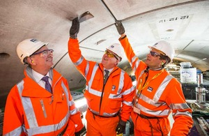 Transport Secretary Patrick McLoughlin in the Crossrail tunnel