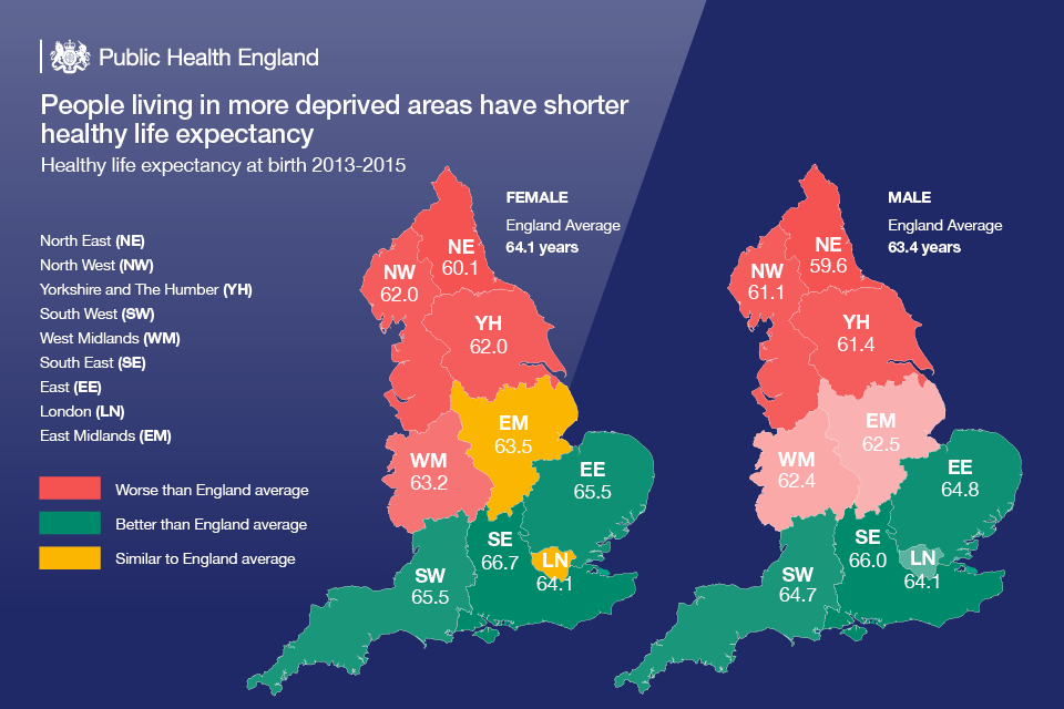 Infographic showing life expectancy in different parts of England