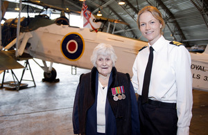 Wartime heroine Beth Hutchinson with Lieutenant Commander Polly Hatchard [Picture: Leading Airman (Photographer) Caroline Davies, Crown copyright]
