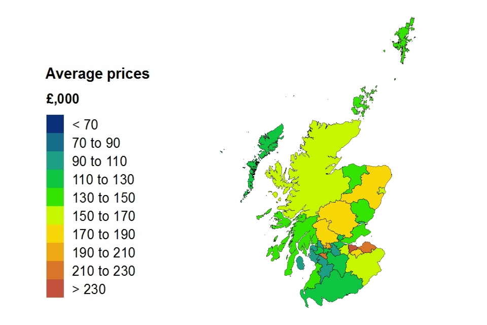 Average price by local authority heat map