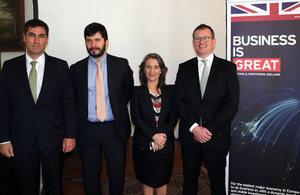 Presenters Ignacio Goldsack, CMPC; Juan Ladrón de Guevara, ASCC; Marina Hermosilla, CLG-Chile; Philip Hardwick, UK Climate Market Professional.