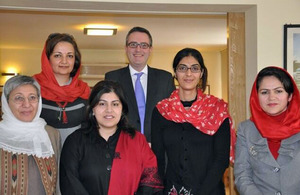 Baroness Warsi with leading Afghan women: Sima Samar, Fawzia Koofi, Seema Ghani and Selay Ghafar