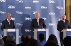 Foreign Secretary William Hague speaking to the media following the Friends of Yemen meeting in London, 7 March 2013.