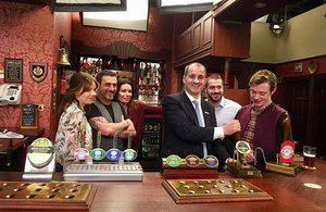 Northern Powerhouse Minister Jake Berry and cast from Coronation Street