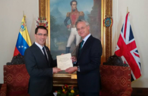 The new British Ambassador to Venezuela presented copies of his Letters of Credentials to the Venezuelan Minister of Foreign Affairs Jorge Arreaza