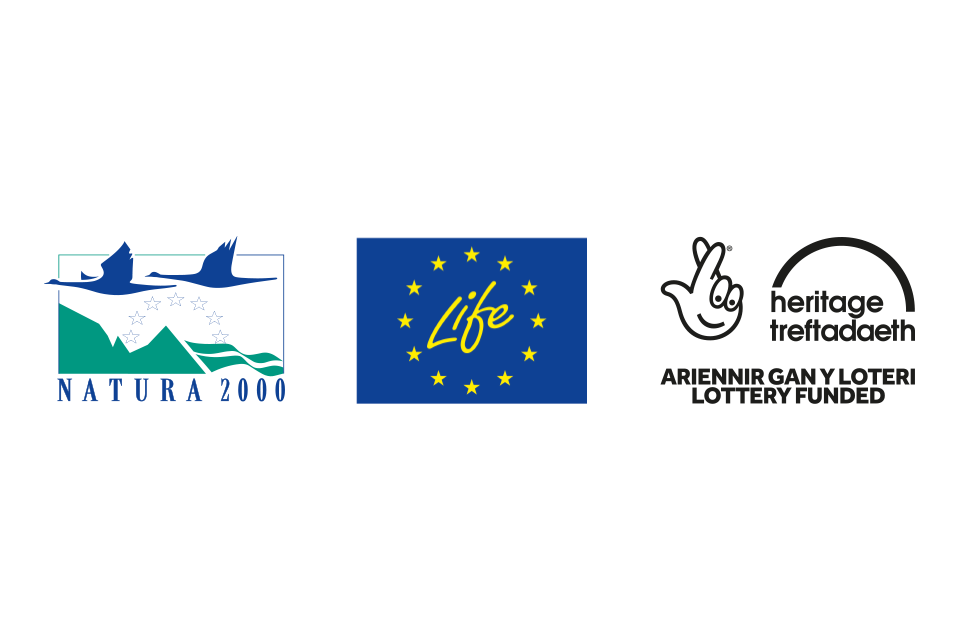 Natura 2000, EU LIFE and Heritage Lottery Fund logos