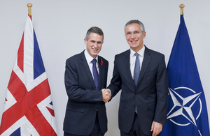 UK Defence Secretary Gavin Williamson (left), shaking hands with the NATO Secretary General, Jens Stoltenberg (right).