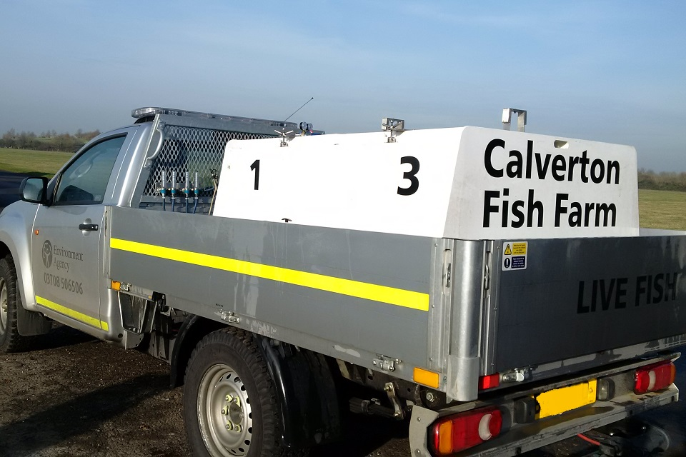 Environment Agency vehicle with oxygenated tanks for transporting live fish.