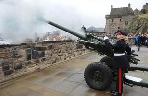 Bombardier Allison Jones fires the 1 o'clock Gun at Edinburgh Castle [Picture: Mark Owens, Crown copyright]