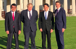 The Defence Secretary and Foreign Secretary met their Japanese counterparts at Greenwich Naval College.