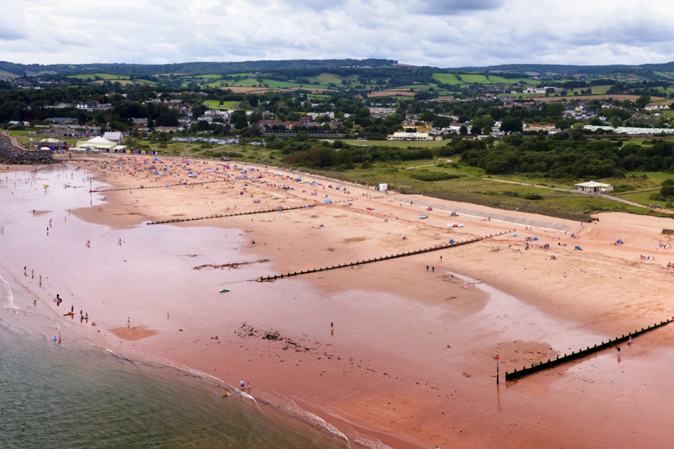 An aerial view of Dawlish Warren, showing the improved timber groynes along the beach