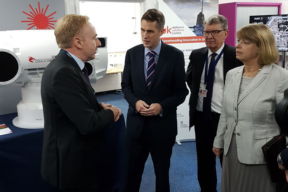 A three-pronged refresh to defence's Industrial Policy has been unveiled by Defence Secretary Gavin Williamson at the UK Defence Solutions Centre in Farnborough today. Crown copyright.