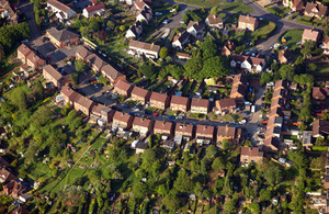 Aerial view of houses to illustrate price paid