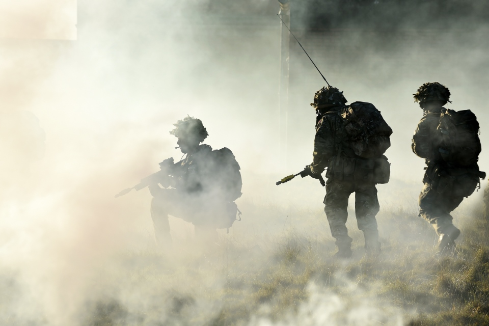 Army Air Corps soldiers during a training exercise