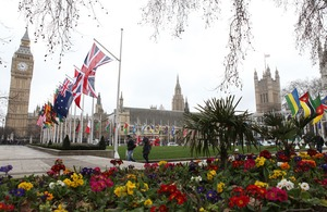 Commonwealth flags flying in Parliament square