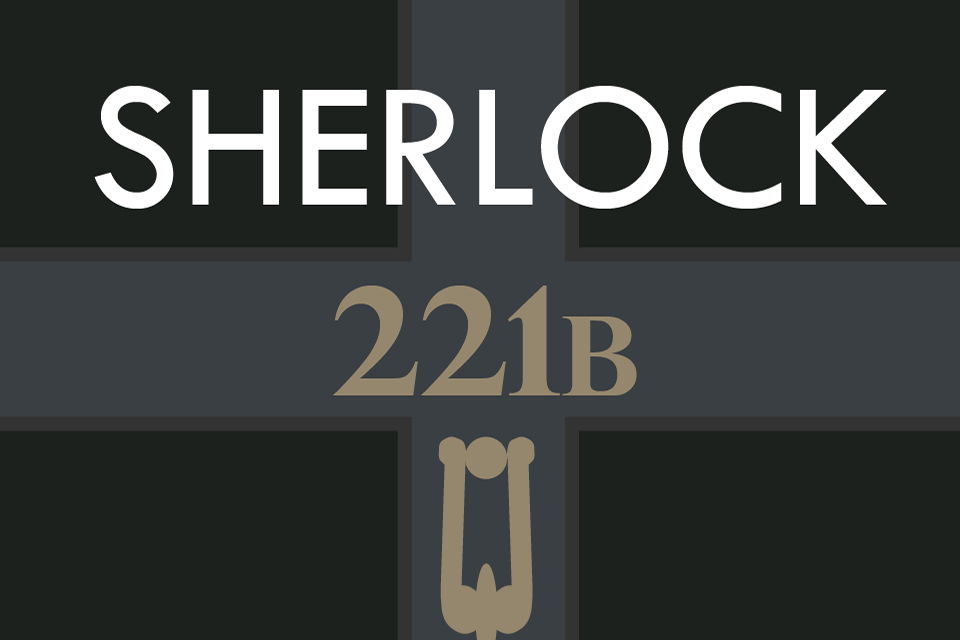 "Graphic of a doorway with ""221B"" on it with the caption ""Sherlock"""