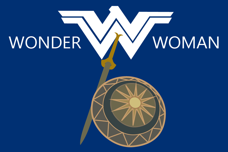 Graphic of sword and shield below the Wonder Woman logo