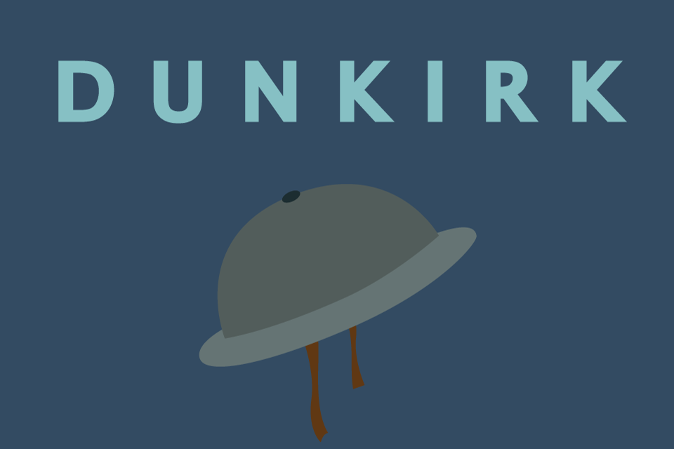 "Graphic of a helmet with the caption ""Dunkirk"""