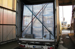 Lorry containing seized boxes of tobacco