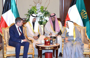 British Defence Secretary meeting with His HighnessThe Amir of Kuwait