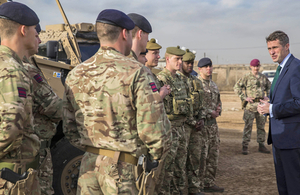Defence Secretary Gavin Williamson meeting UK troops stationed in Taji who, along with over 600 British soldiers on the ground in Iraq, are helping to train that country's forces.