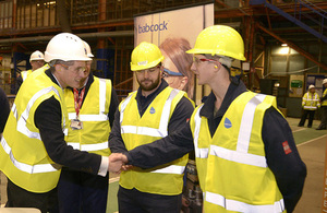 Defence Secretary Gavin Williamson paid a visit to Babcock's Appledore shipyard this morning. Crown copyright.