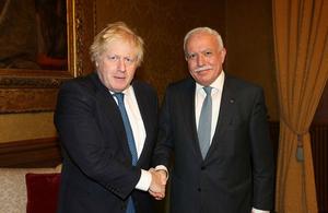 Foreign Secretary Boris Johnson and the Palestinian Foreign Minister Riyad al Malki.