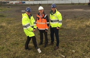 Image shows the organisations digging the first spade into the ground for the start of the work.