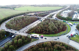 Aerial view of the existing junction 9 on the M3
