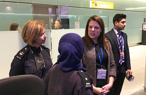 Immigration Minister Caroline Nokes at Heathrow Airport