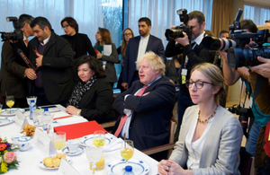 Foreign Secretary Boris Johnson at the meeting with Iranian Minister for Foreign Affairs Mohammed Zarif and his European counterparts
