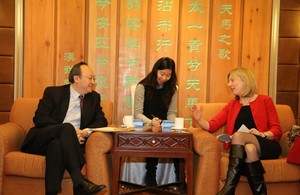 On the left is Dr. Yin Li, Chinese Vice Minister of Health. On the right is Ms. Joy Hutcheon, DFID Director General of Country Programmes.