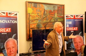 Sir David Attenborough showcases latest work in British Embassy appearance.
